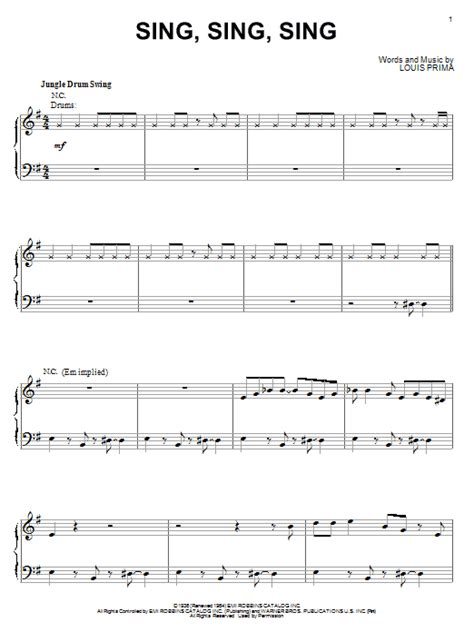 drum pattern for sing sing sing sing sing sing sheet music direct