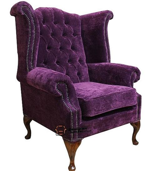 purple high back wing chair purple chesterfield newby high back wing chair