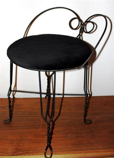 Wrought Iron Vanity Stool Vintage Vanity Stool By Rubel Black On Black