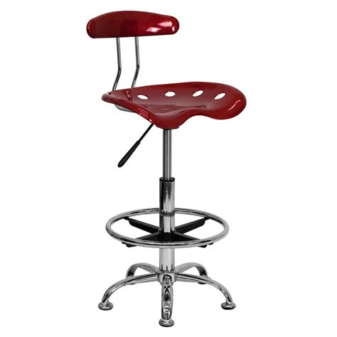 vibrant wine and chrome drafting stool with tractor