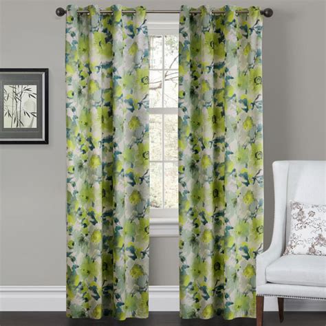 Curtains With Green Decoration Ideas Fancy Home Interior Decoration With Green Floral Motif Curtains And White Wing