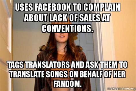 Scumbag Stacy Meme Generator - uses facebook to complain about lack of sales at