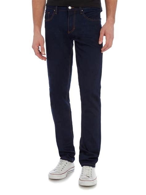 versace tiger slim fit indigo jean in blue for