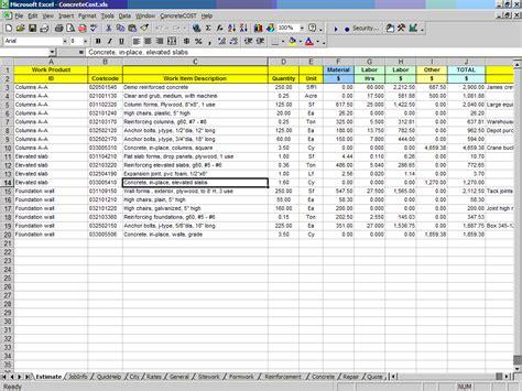 concretecost estimator  excel building construction
