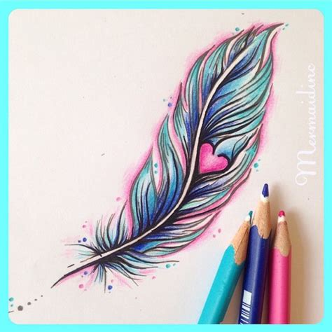 colorful feather tattoo girly colourful feather and by mermaid inc