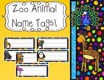 printable zoo animal name tags first grade splendor teaching resources teachers pay