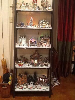 christmas village ladder display display on a ladder bookshelf deco for the holidays