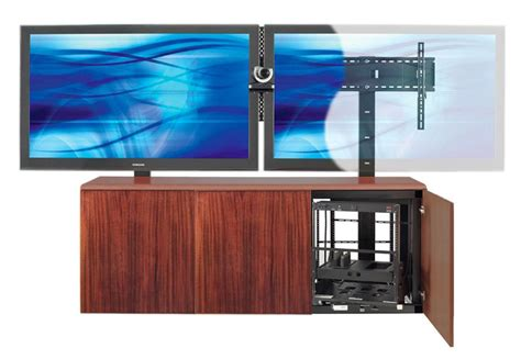 contemporary dual mount tv stand  mahogany veneer