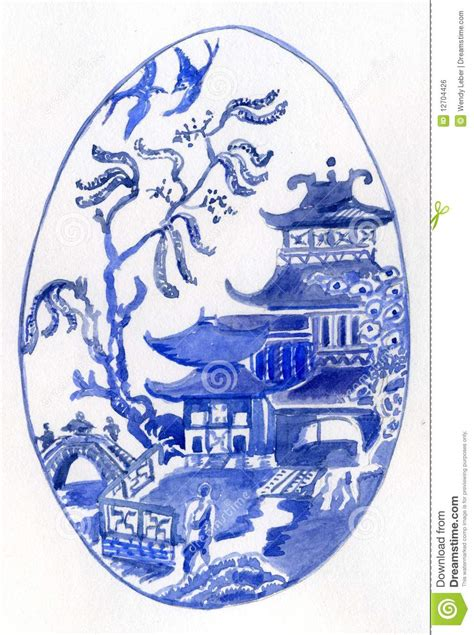 willow pattern en francais willow pattern egg royalty free stock image image 12704426