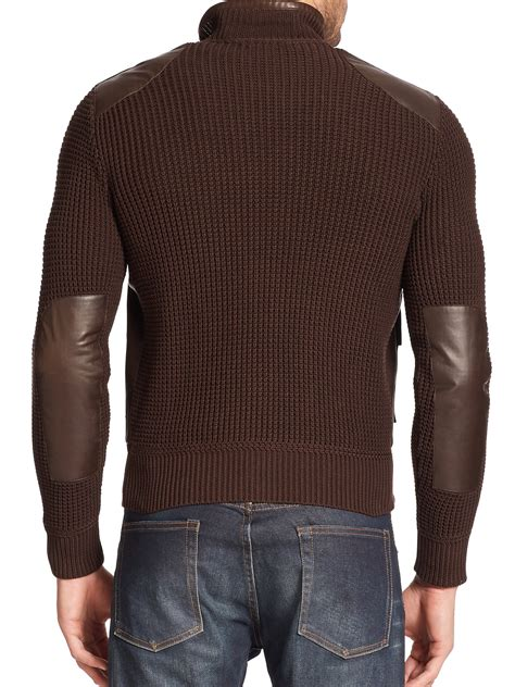 knit sleeve leather jacket ralph black label knit sleeve leather motorcycle