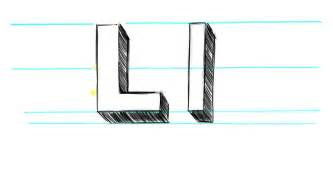 how to make a l how to draw 3d letters l uppercase l and lowercase l in