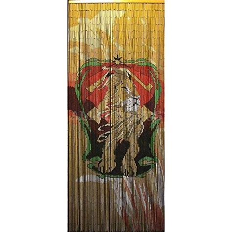 beaded bamboo door curtains rasta lion one love hand painted gateways 100 bamboo