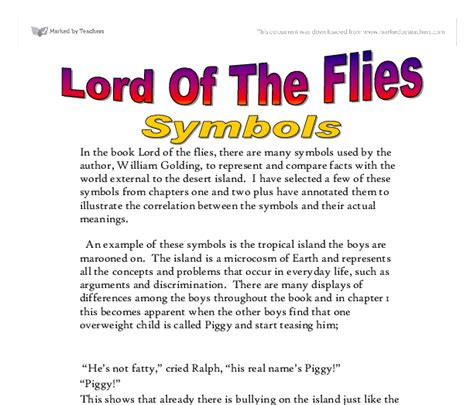 images and symbols in lord of the flies lord of the flies symbols gcse english marked by