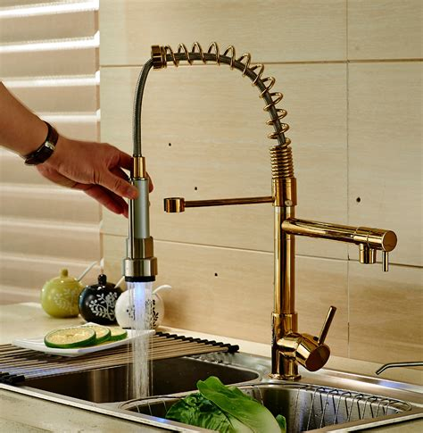 Led Faucet Light by Led Light Pull Down Spray Kitchen Sink Faucet Swivel Spout