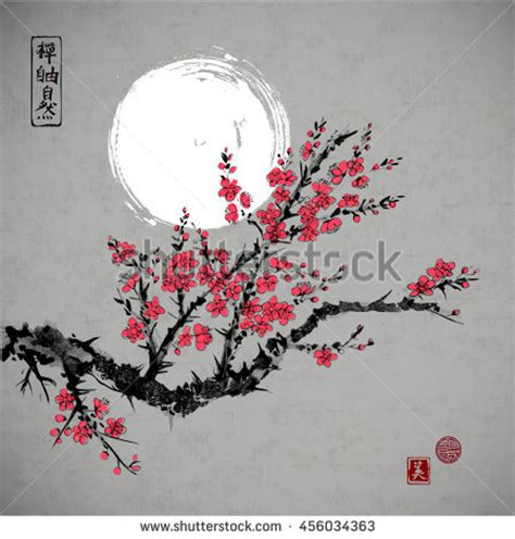 cherry blossom grasses moon and plum blossom painting plum blossom moon traditional chinese painting stock
