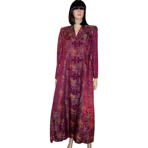 Floor Length Robes by 1940 S Made Plum Colored Brocaded Floor