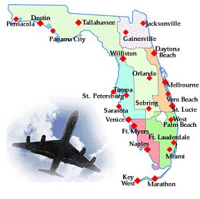 florida map with cities and airports florida airports airlines travel links