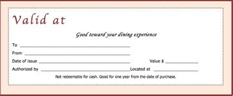 dinner gift card template restaurant gift certificate templates wikidownload