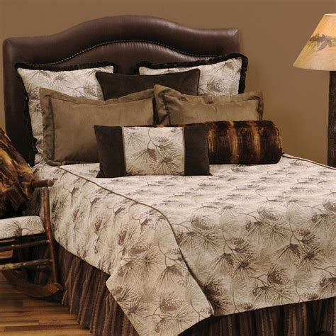 Pine Cone Bedding Set The Pine Forest Cabin Bedding Has A Simple Pine Cone And Branch Pattern Enhanced With Brown