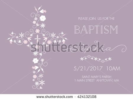 memory cross card template baptism invite card template cross flowers stock vector