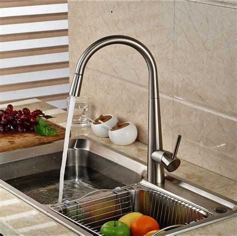 Kitchen Sink Finishes Amoskeag Brushed Nickel Finish Kitchen Sink Faucet With Pull Out Sprayer Funitic
