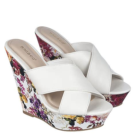 Heel Booth bamboo booth 22 s white floral high heel wedge