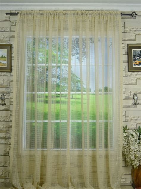 Ready Made Curtains 240cm Drop Qy7151soe Laura Small Plaid Polyester Rod Pocket Sheer