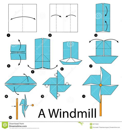 Steps To Make A Origami - step by step how to make origami a windmill