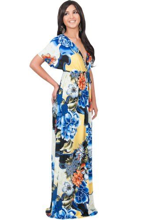 Xl Jumbo Bigsize Maxi Longdress Gamis Dress Wanita Slit Blouse koh koh womens kimono sleeve v neck summer floral print flowy maternity casual