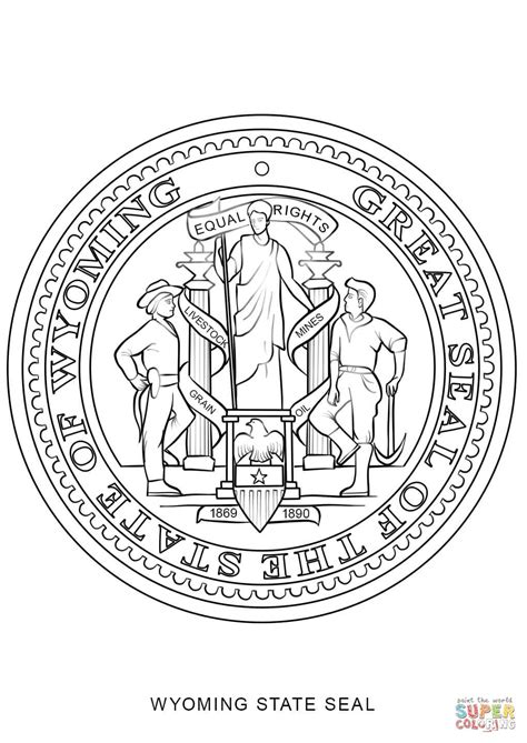 wyoming state seal coloring page free printable coloring