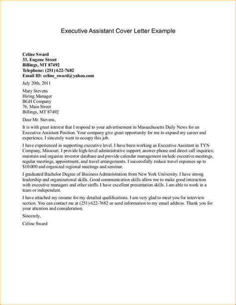 cover letter exles for assistant 12 cover letter for executive resume basic