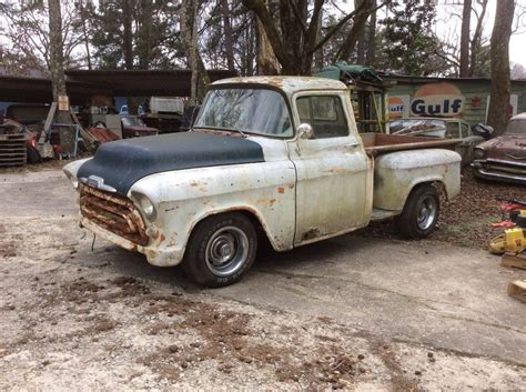 chevy short bed for sale 1957 chevrolet pickup 3100 half ton short bed barn find