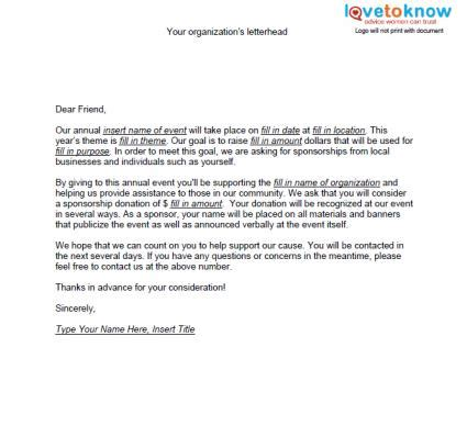 charity sponsorship request letter sles of non profit fundraising letters lovetoknow