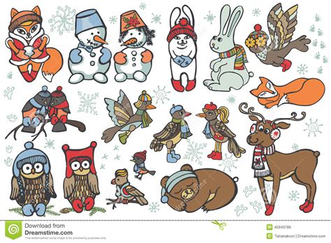 christmas animals animated animals set forest winter stock vector image 45943786