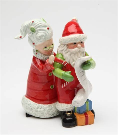 mrs claus and santa claus ceramic salt and pepper shakers