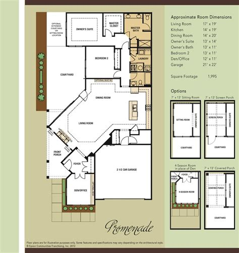 epcon communities floor plans promenade floor plan courtyard home pinterest