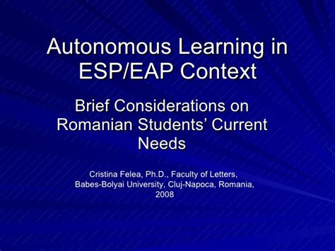 For Special Purposes autonomous learning in for special purposes