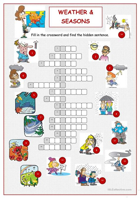 printable degree weather amp seasons crossword worksheet free esl printable