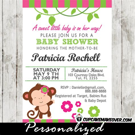 Mod Monkey Baby Shower by Pink And Green Mod Monkey Baby Shower Invitations