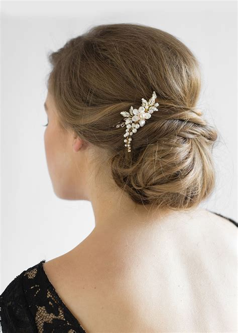 Wedding Hair With Comb by Aries Delicate Pearl Bridal Hair Comb Tania Maras Bridal