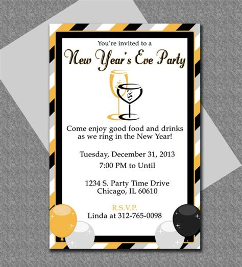 New Years Eve Party Invitation Editable Template New Year Invitation Template