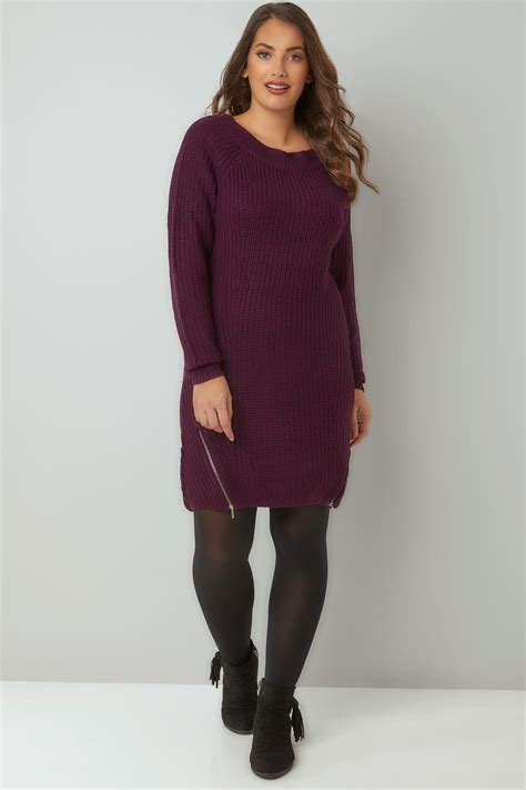 Sprite Amazon Gift Card - purple chunky knit tunic dress with zip hem plus size 16 to 36