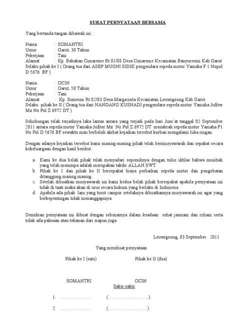format surat pernyataan damai surat pernyataan bersama