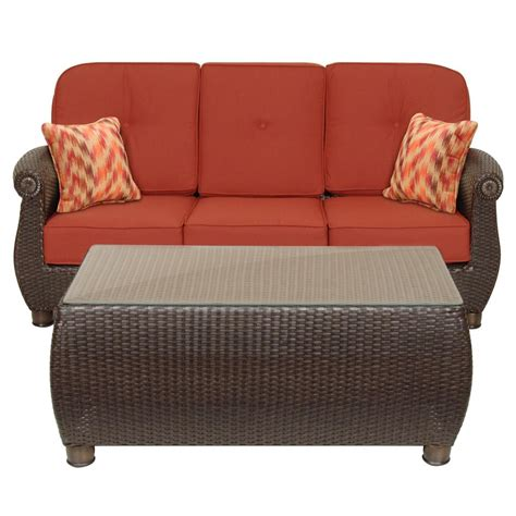 Hton Bay Broadview Patio Sofa With Sunbrella Spectrum Outdoor Sofa Table
