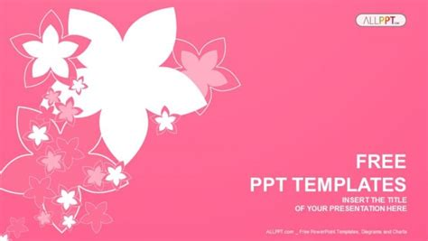 template ppt pink free nature with of pink flowers powerpoint templates