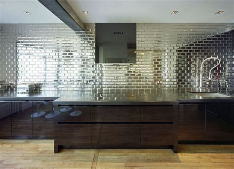 mirrored backsplash mirrored subway tile backsplash