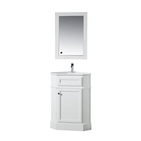 Corner Bathroom Vanity Tops Stufurhome Hton 27 In W Corner Vanity In White With Porcelain Vanity Top In White With White
