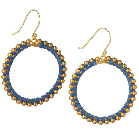 Anting 18k Gold Plated Foxy Earrings blue threaded hoop 18k gold plated earrings