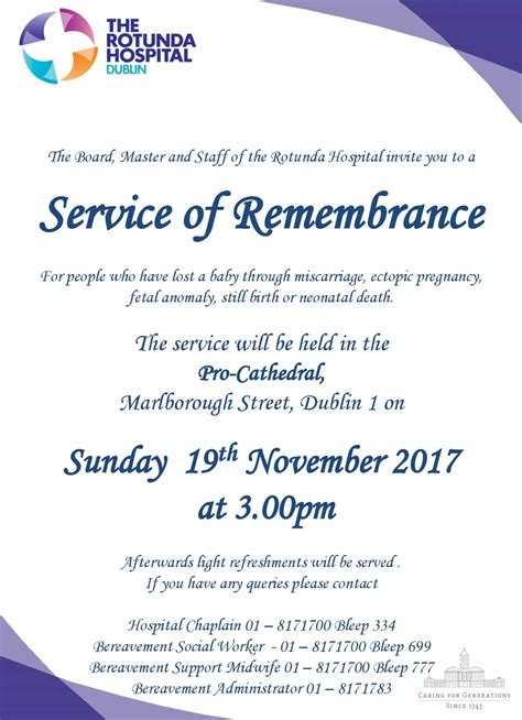 Rotunda Hospital Dublin Birth Records Annual Service Of Remembrance 2017 Rotunda