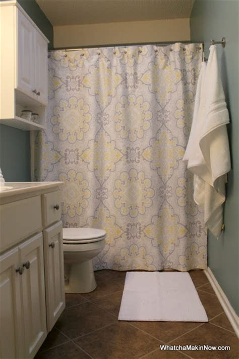 madison park brianna sateen printed shower curtain guest bathroom makeover aqua white gray yellow